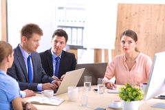 Business meeting -  manager discussing work with Royalty Free Stock Photo