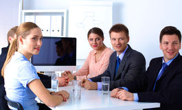 Business meeting -  manager discussing work with. His colleagues Stock Photo