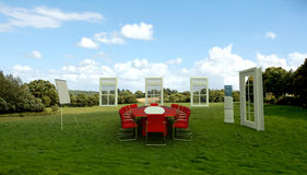 Business meeting in a meadow. Meeting room in  a country field Stock Photo