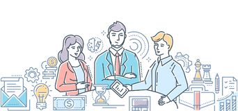 Business meeting - modern line design style illustration. On white background. Three businessmen, colleagues discussing their ideas, projects, plans Royalty Free Stock Photography