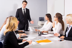 Business meeting of multinational managing team Royalty Free Stock Photography