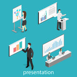 Business meeting in an office Business presentation meeting in conference hall. Flat 3D illustration. Business meeting in an office. Business presentation Royalty Free Stock Photography