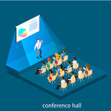 Business meeting in an office Business presentation meeting in conference hall. People listen to speakers. Flat 3D illustration Royalty Free Stock Image