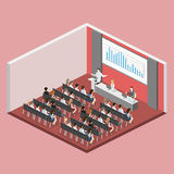 Business meeting in an office Business presentation meeting in conference hall. People listen to speakers. Flat 3D illustration Stock Images