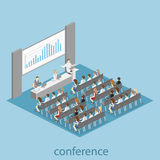 Business meeting in an office Business presentation meeting in conference hall. People listen to speakers. Flat 3D illustration Royalty Free Stock Photography