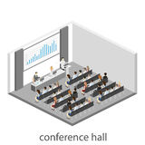Business meeting in an office Business presentation meeting in conference hall. People listen to speakers. Flat 3D illustration Stock Photography