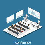 Business meeting in an office Business presentation meeting in conference hall. People listen to speakers. Flat 3D illustration Stock Photo