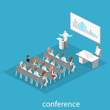 Business meeting in an office Business presentation meeting in conference hall. People listen to speakers. Flat 3D illustration Stock Image