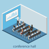 Business meeting in an office Business presentation meeting in conference hall. People listen to speakers. Business meeting in an office Flat 3D illustration Royalty Free Stock Images