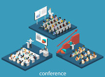 Business meeting in an office Business presentation meeting in conference hall. People listen to speakers. Flat 3D illustration Stock Photos