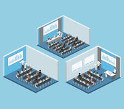 Business meeting in an office Business presentation meeting in conference hall. People listen to speakers. Flat 3D illustration Royalty Free Stock Photo