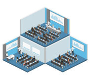 Business meeting in an office Business presentation meeting in conference hall.. People listen to speakers. Flat 3D illustration Royalty Free Stock Image