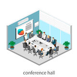 Business meeting in an office Business presentation meeting in an office around a table. Isometric flat 3D interior Stock Photography