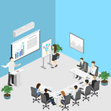Business meeting in an office Business presentation meeting in an office around a table. Isometric flat 3D interior Royalty Free Stock Photos
