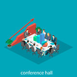 Business meeting in an office Business presentation meeting in an office around a table. Isometric flat 3D interior Royalty Free Stock Photo