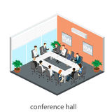 Business meeting in an office Business presentation meeting in an office around a table. Isometric flat 3D interior Royalty Free Stock Image