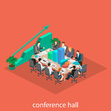 Business meeting in an office Business presentation meeting in an office around a table. Isometric flat 3D interior Stock Photo