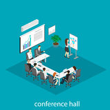 Business meeting in an office Business presentation meeting in an office around a table. Isometric flat 3D interior Royalty Free Stock Images