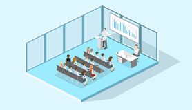 Business meeting in an office Business presentation meeting Isometric interior. Business meeting in an office Business presentation meeting in an office around a Royalty Free Stock Photos