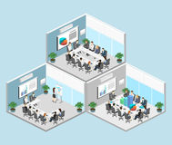Business meeting in an office Business presentation meeting in an office around a table. Isometric flat interior Royalty Free Stock Photos