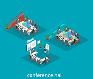 Business meeting in an office Business presentation meeting in an office around a table. Isometric flat interior Royalty Free Stock Image