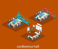 Business meeting in an office Business presentation meeting in an office around a table. Isometric flat interior Royalty Free Stock Photo