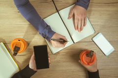 Business meeting, office desk top view Royalty Free Stock Photography