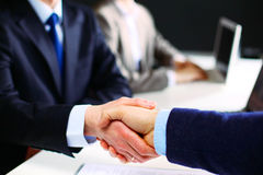 Business Man And Woman Team At Office Handshake Stock Photo ...