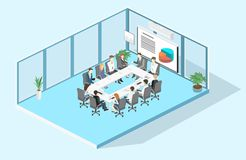 Business meeting in an office Business presentation meeting Isometric interior. Business meeting in an office Business presentation meeting in an office around a Stock Photos