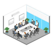Business meeting in an office. Business presentation meeting in an office around a table. Isometric flat 3D interior Stock Images