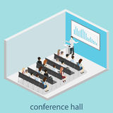 Business meeting in an office. Business presentation meeting in conference hall. People listen to speakers. Flat 3D illustration Royalty Free Stock Image