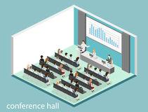 Business meeting in an office. Business presentation meeting in conference hall. People listen to speakers. Flat 3D illustration Stock Image