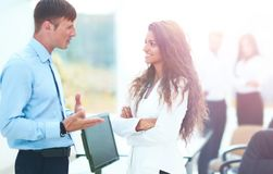 Business - meeting in office, two managers are discussing a docu. Ment Royalty Free Stock Image