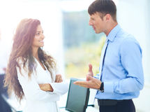 Business - meeting in office, two managers are discussing a docu. Ment Stock Images