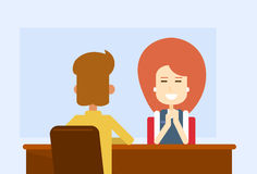 Business Meeting Office Woman Sit Table With Client Royalty Free Stock Photos