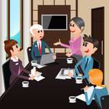 Business Meeting. Office Workers with Laptops, Tablets Stock Photo