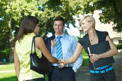 Business meeting in park Stock Image