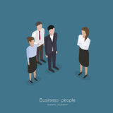 Business meeting people. Business boss woman meeting people worker in isometric style vector illustration Stock Photo