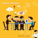 Business meeting. People negotiate at office table vector eps10 illustration Stock Images