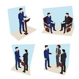 Business meeting, people in business suits stock illustration