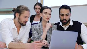 Business Meeting. People Working On Computer In Modern Office. Work Team Discussing Project Indoors stock footage