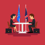 Business meeting of politicians,signing of agreements.Flat style Stock Images