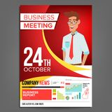 Business Meeting Poster Vector. Businessman. Invitation For Conference, Forum, Brainstorming. Red, Yellow Cover Annual. Report. A4 Size. Lecture Motivation For Royalty Free Stock Images