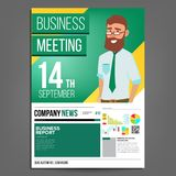 Business Meeting Poster Vector. Businessman. Layout Template. Presentation Concept. Green, Yellow Corporate Banner. A4. Size. Analyzing Sales Statistics Stock Image