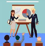 Business meeting presentation of the project by businessman and businesswoman. Royalty Free Stock Images