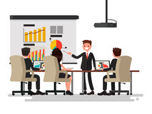 Business meeting. Presentation of the project. Man speaks before. His colleagues. Vector illustration of a flat design Royalty Free Stock Photos