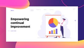 Business Meeting, Project Presentation, Male Character Point on Financial Pie Graph on Flip Board, Data Analysis vector illustration