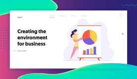 Business Meeting, Project Presentation, Woman Business Coach Pointing on Financial Pie Chart Data Analysis Statistics vector illustration
