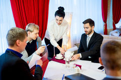 Business meeting in a restaurant Stock Images