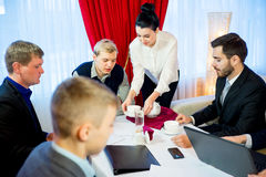 Business meeting in a restaurant Royalty Free Stock Images